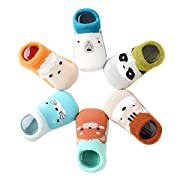 Baby Socks for Girls - Newborn Infant Toddler Boys Cute Animal No Show Non Slip/Anti Skid Ankle Cotton Slippers whit Grips 6 Pairs 0-24 months (M 6-12 months, 6 Pairs Animal socks)