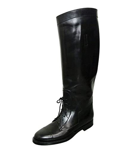 a1623502b Amazon.com: Gucci Women's Black Leather Lace up Boulanger Equestrian Boots  297460 (36.5 G / 6.5 US): Shoes
