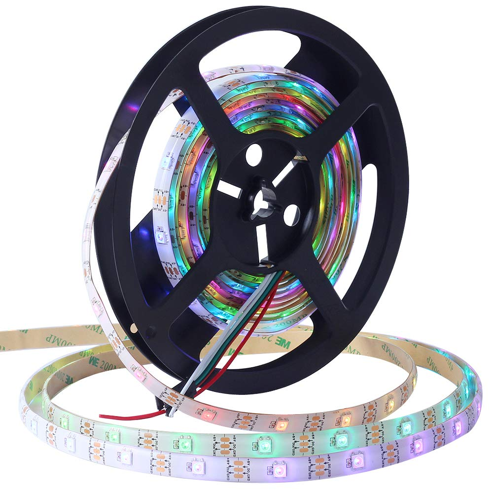 WS2812B CHINLY 5m 300leds DC5V Indirizzabile singolarmente Strip LED 5050 RGB SMD 300 Pixel Dream Color Waterproof IP67 White PCB