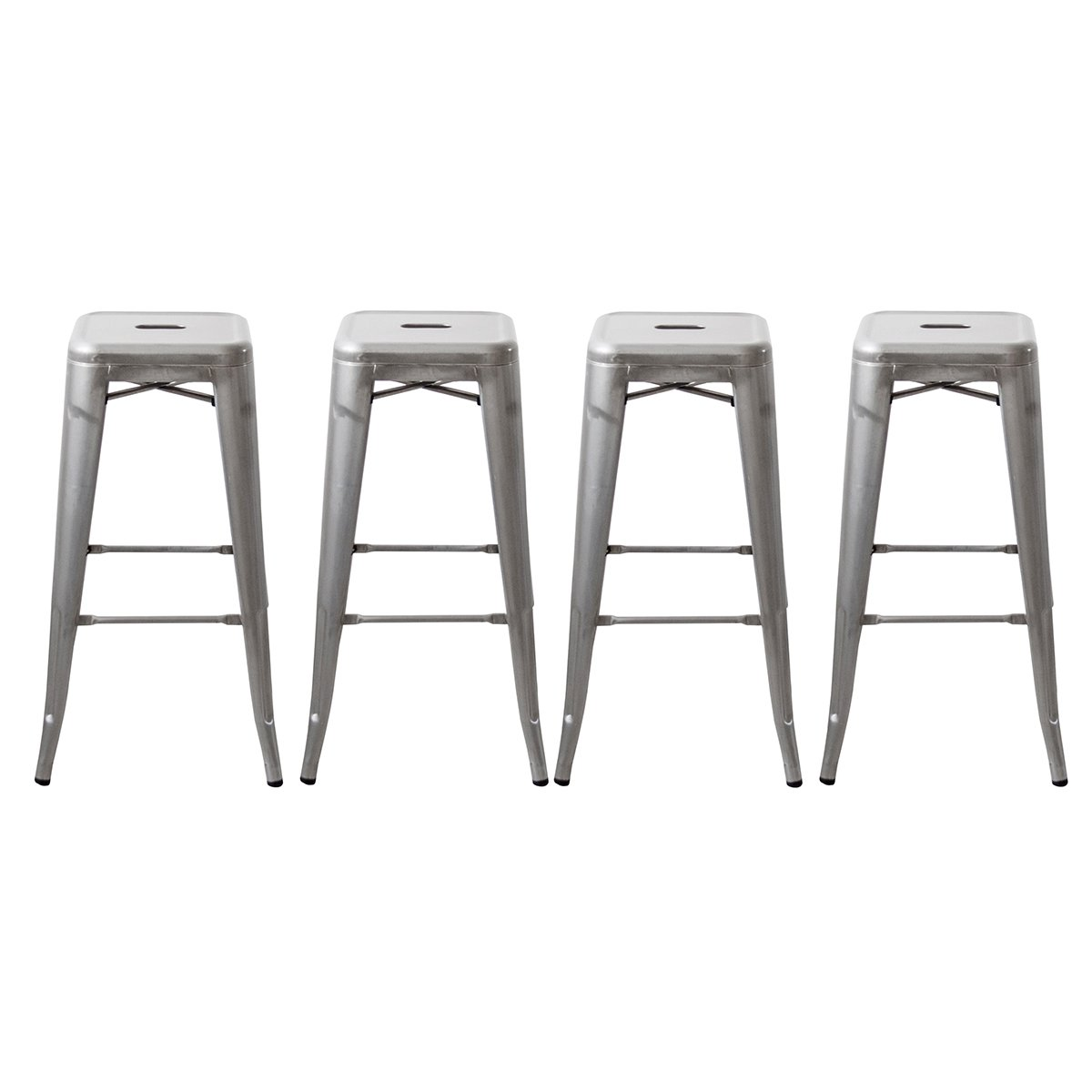 Buschman Set of Four Galvanized 30 Inches Counter Height Tolix-Style Metal Bar Stools, Indoor/Outdoor, Stackable