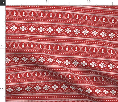 (Scandinavian Fabric - Nordic Christmas Minimal Sweater Holiday Red and White Ugly Snowflake Winter Print on Fabric by The Yard - Organic Cotton Knit for Baby Blankets Clothing Apparel T-Shirts)