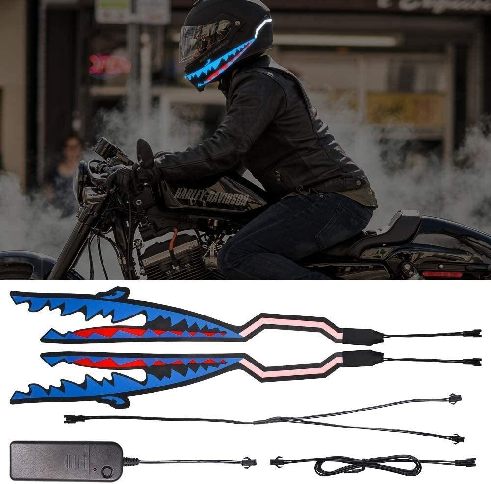 Saft Motorradhelm Led El Kaltes Licht Streifen Aufkleber Für Motorradhelm Fahrradhelm Nachtfahrten Sicherheits Signal Blinkende Streifen Dekoration Zubehör Kit Color Blue Sport Freizeit