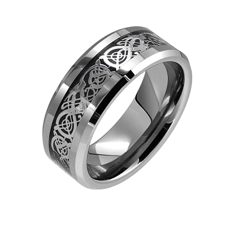 Bling Stars Dragon Pattern Beveled Edges Tungsten Celtic Rings Jewelry Wedding Band Promise Rings For Men