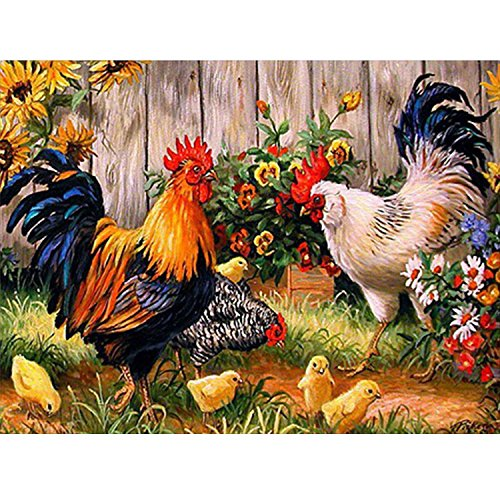 Hestya 5D Full Drill Diamond Painting Kit Embroidery Rhinestone Cross Stitch Rooster Hen Chicks Diamond Painting Kit Supplies Tools Set for Arts Crafts Home Decorations (Rhinestone Rooster)