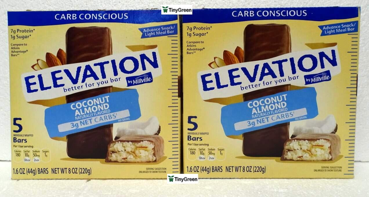 Elevation by Millville Protein Bars Carb Conscious Coconut Almond 8oz 220g (Pack of Two)