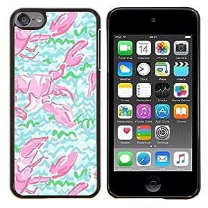 TECHCASE---Cubierta de la caja de protección para la piel dura ** Apple iPod Touch 6 6th Touch6 ** --Cangrejo de modelo del art Green Lobster