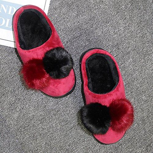 interior es de invierno zapatillas Zapatillas femenino Zapatillas zapatillas Jersey color algodón bola estancia coreano más felpa El rojo2 par de DogHaccd terciopelo antideslizante de gruesa de vino wqXxgOEUg