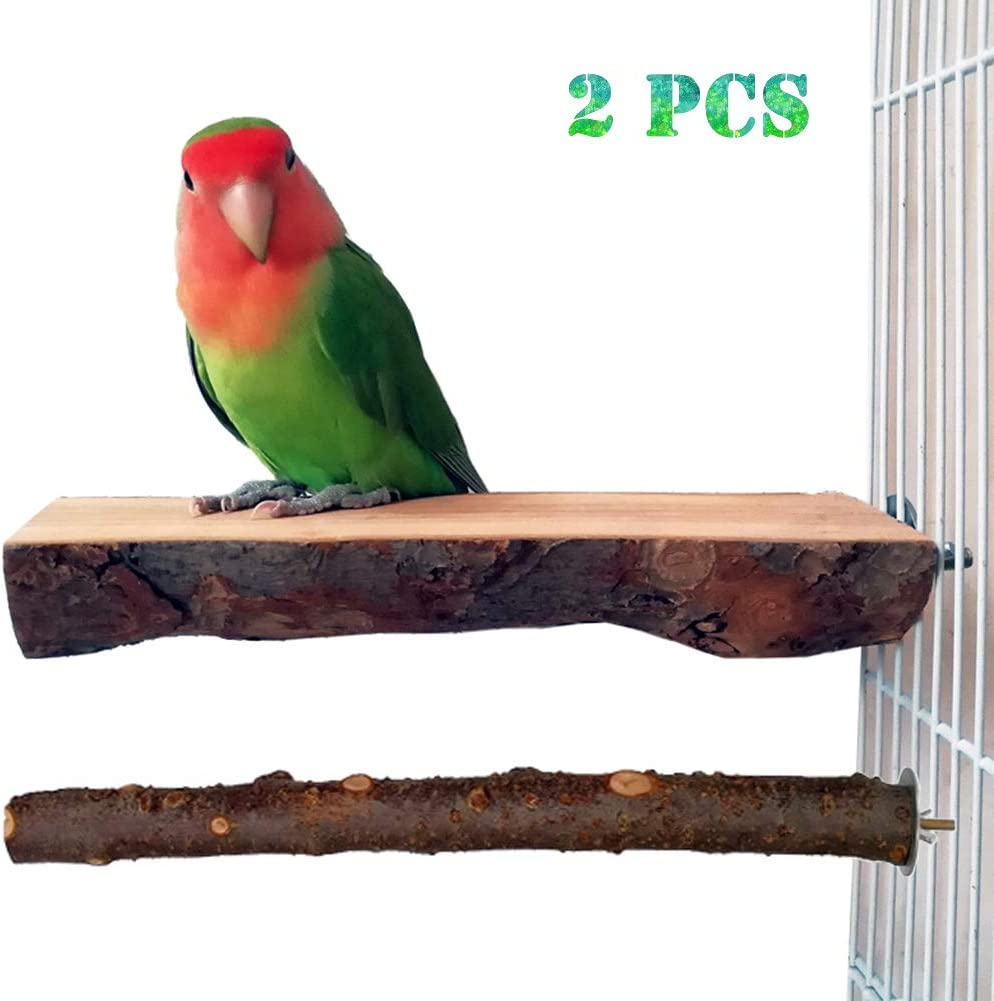 Paw Grinding Standing Climbing Toy Cage Accessory for Small and Medium Parrots Parakeets Cockatiels Lovebirds Finches Pack of 2 Bird Stand Perch Wooden Platform YJJKJ Natural Wooden Parrot Perch