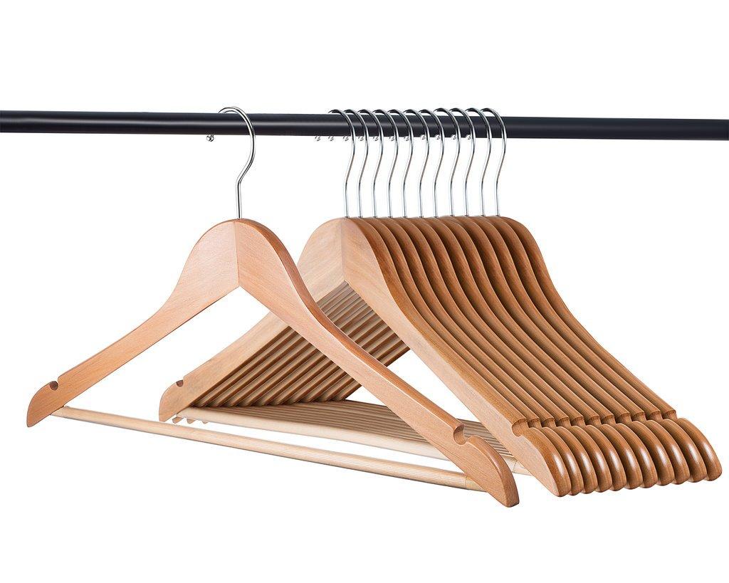 Home-it (24 Pack Natural wood hangers - Solid Wood Clothes Hangers - Coat Hanger Wooden Hangers