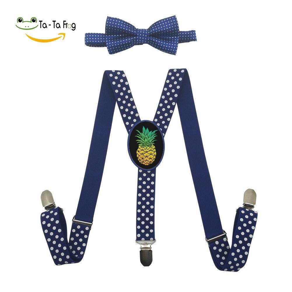 XTQI Tropical Summer Pineapple Suspenders Bowtie Set-Adjustable Length Blue
