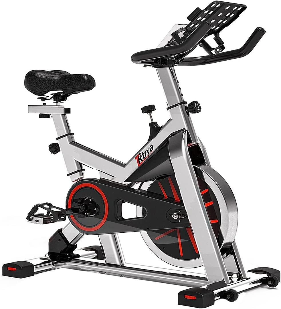 TRYA Indoor Exercise Bike Stationary, Belt Drive Cycling Bikes with Ipad Mount and LCD Monitor for Home Workout Bike Training, 35 Lbs Flywheel