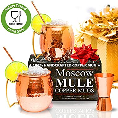 Moscow Mule Copper Mugs - Set of 2 - 100% HANDCRAFTED – Food Safe Pure Solid Copper Mugs - 16 oz Gift Set with BONUS: Highest Quality Cocktail Copper Straws and Jigger!