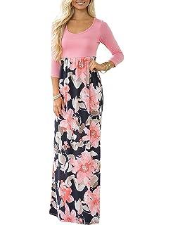 d3cad0f409d43 DUNEA Women s Maxi Dress Floral Printed Autumn 3 4 Sleeve Casual Tunic Long  Maxi Dress