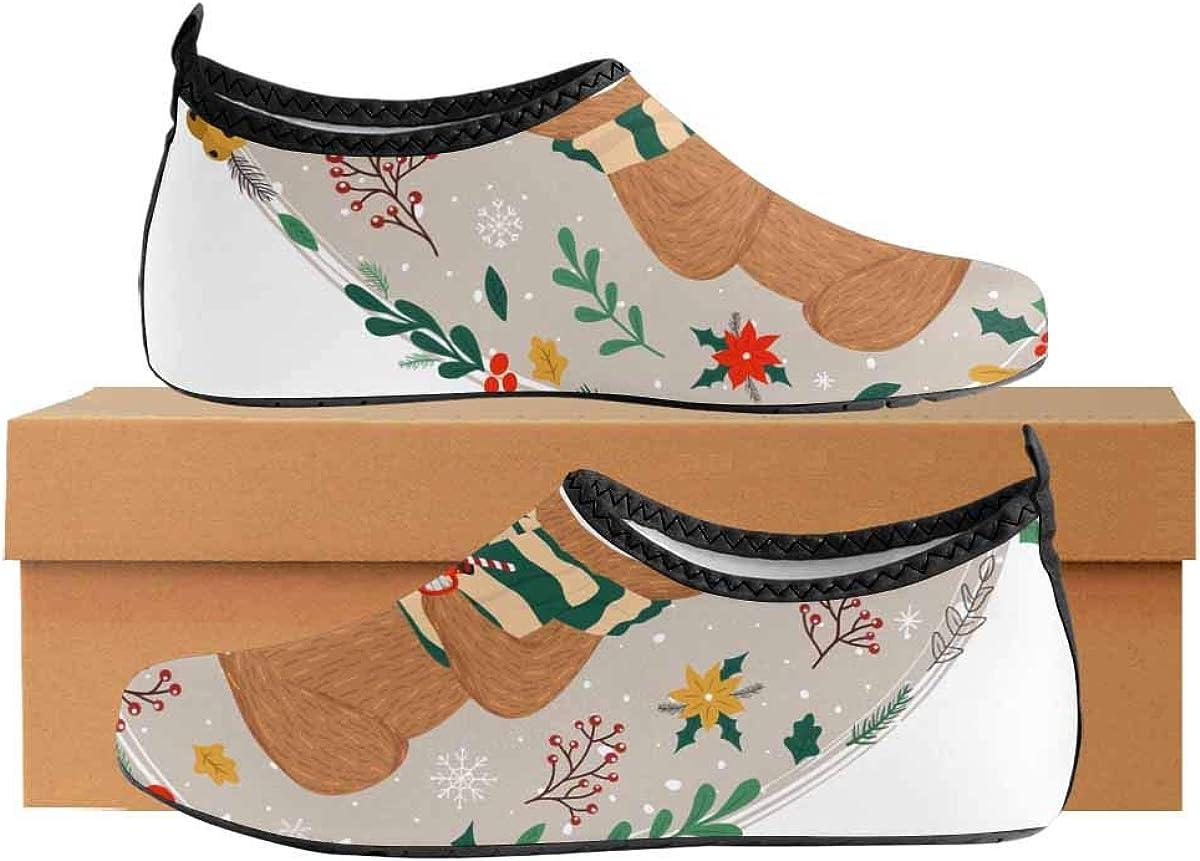 INTERESTPRINT Mens Water Shoes Swim Socks Funny Sloth Coffee Beach Swim Shoes Quick Dry Aqua Socks Pool Shoes