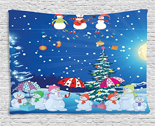 Snowman Wall Tapestry (Ambesonne Christmas Tapestry, Snowman Winter Snowkids Snowing Moonlight Snowflakes Digital Print, Wall Hanging for Bedroom Living Room Dorm, 60 W X 40 L Inches, Blue Yellow White Pink Green)