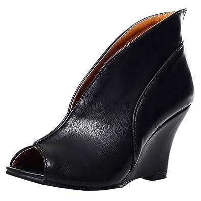 69151f4f134 Amazon.com   KemeKiss Spring Summer Womens Peep Toe Wedge Ankle ...