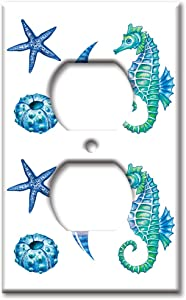 Art Plates Brand Electrical Outlet Wall/Switch Plate - Colorful Seahorse & Shells