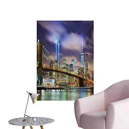 Anzhutwelve Landscape Photographic Wallpaper Manhattan Skyline with Brooklyn Bridge and Towers in NYC United States AmericaPuple
