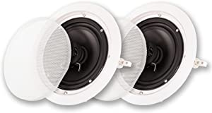"""Acoustic Audio by Goldwood Acoustic Audio HTI-6C in Ceiling 6.5"""" Speaker Pair 2 Way Home Theater Speakers, White"""