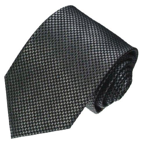 LORENZO CANA - Luxury Italian 100% Silk Jacquard Woven Black White Necktie - 84474 ()