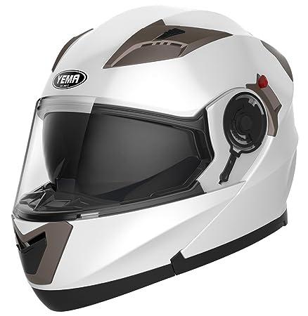 Amazon.es: YEMA Casco Moto Modular ECE Homologado YM-925 Casco de Moto Integral Scooter para Mujer Hombre Adultos con Doble Visera-Blanco-XL