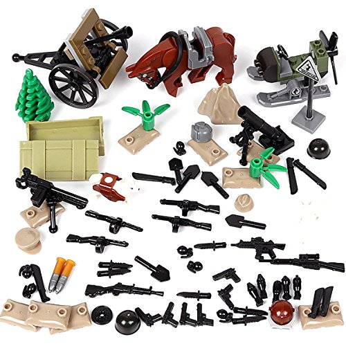 Kolobok WW2 Toys War Set - WWII Red Army Men Weapons Pack - Guns and Accessories for Russian Soldier Minifigures - Building Blocks USSR Military Toys 71 pcs Compatible with Major Brands (Best Weapons Of Ww2)