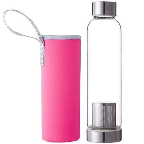 LAAT Botellas De Agua Al Aire Libre para Senderismo Camping De Viaje Portátil Botella Agua Cristal