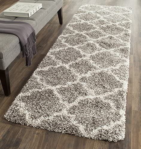 Safavieh Hudson Shag Collection SGH282B Grey and Ivory Moroccan Geometric Quatrefoil Area Rug 2 x 3