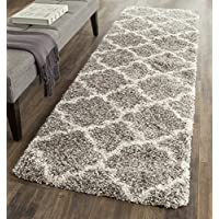 Safavieh Hudson Shag Collection SGH282B Grey and Ivory Moroccan Geometric Quatrefoil Runner (23 x 8)