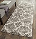 Safavieh Hudson Shag Collection SGH282B Grey and Ivory Moroccan Geometric Quatrefoil Runner (2'3'' x 8')
