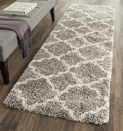 Safavieh Hudson Shag Collection SGH282B Grey and Ivory Moroccan Geometric Quatrefoil Area Rug (2' x 3')