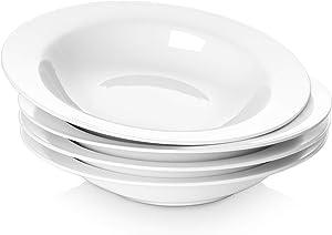 Y YHY 20 Ounces Porcelain Pasta, Soup, Salad Bowls, 9.5 Inches Wide Rim Bowl Set, White, Set of 4