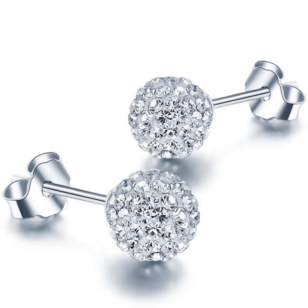 925 Sterling Silver Crystal Button Stud Earrings, (10mm)