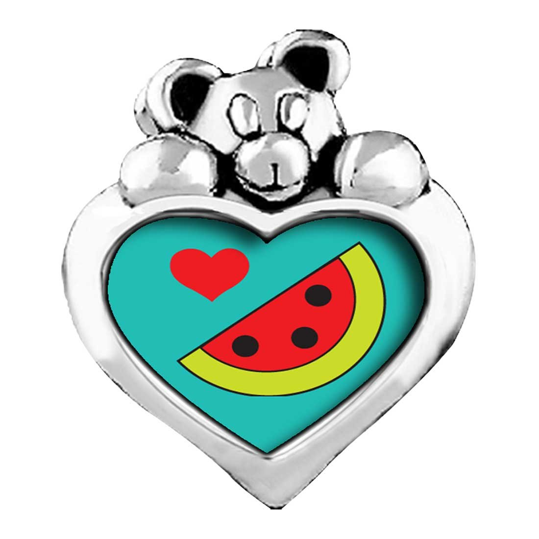 Heart Watermelon Red Siam Crystal January Birthstone I Love You Heart Care Bear Charm Beads Bracelets GiftJewelryShop