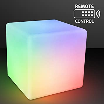 Remote Controlled Light Up 16u0026quot; Cube Stool Table With Rechargable Color  Changing LED Lights
