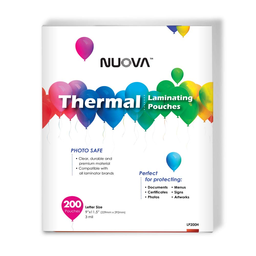 Nuova Premium Thermal Laminating Pouches, 9'' x 11.5''/Letter Size/3 mil, 200 Pack (LP200H) by NUOVA