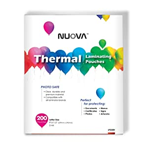 Nuova Premium Thermal Laminating Pouches 9 x 11.5 Inches, Letter Size, 3 mil, 200-Pack (LP200H)