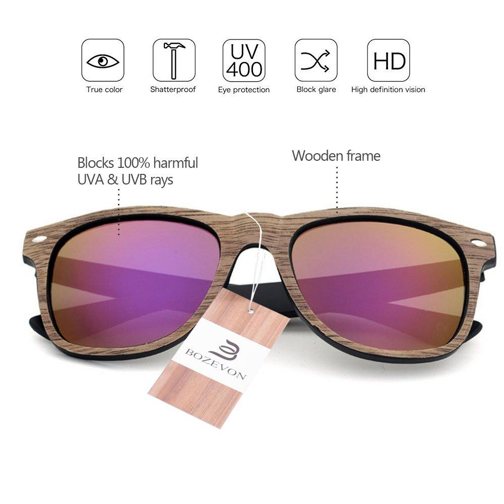 BOZEVON Mode Unisexe Rétro Bambou Lunettes de soleil Frame UV400 Noyer Noir-Bleu IyzKy