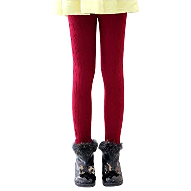 bccc64fd674828 Kids Girls Warm Thick Fleece Lined Leggings Full Length Stretchy Thermal  Highwaist Tights (2-