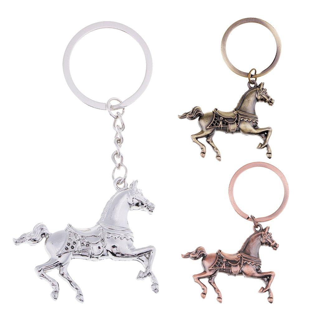 MagiDeal Cute Vintage Creative Animal Horse Key Chain Key Ring Metal Keychain Copper