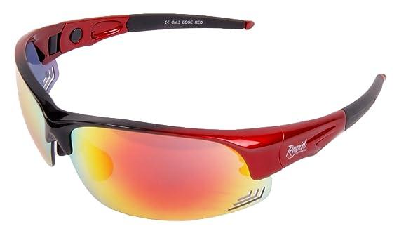 Rapid Eyewear Edge' Rouge LUNETTES DE SOLEIL SPORT avec cordon avec verres interchangeables polarisée uv400. Pour Tennis, course à pied, la voile etc. Pour hommes et femmes. Protection latérale