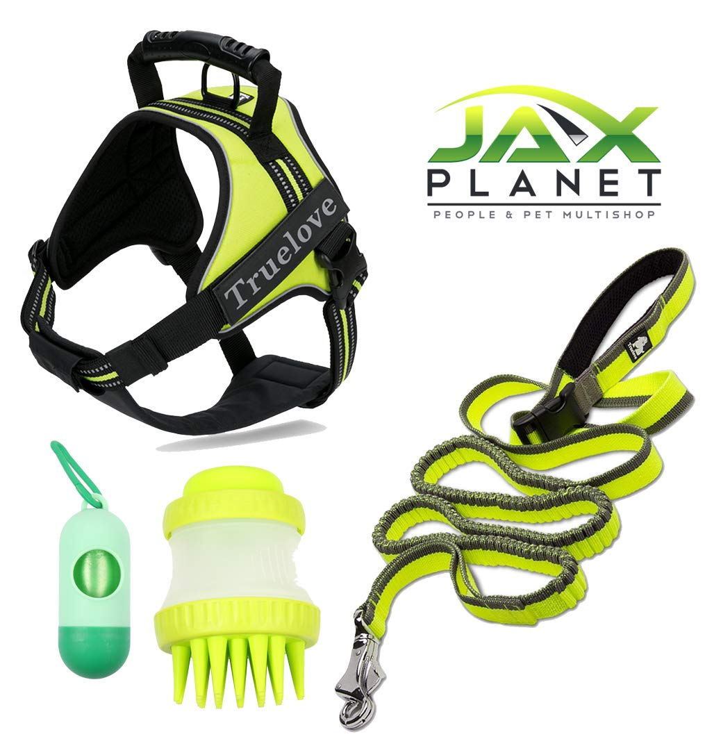 2X-Large Large JAXplanet Dog Harness Leash Accessory Set [TLB4G12]  Stylish Sturdy Safe 3M Reflective Pet Harness & Pet Leash for Small Medium Large Dogs+ Free Accessory Gifts Neon Yellow(Green), 2X-Large Large