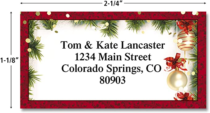 Festive Cacti Christmas Personalized Border Return Address labels Set of 144 1-1//8 x 2-1//4 Self-Adhesive By Colorful Images Flat-Sheet labels