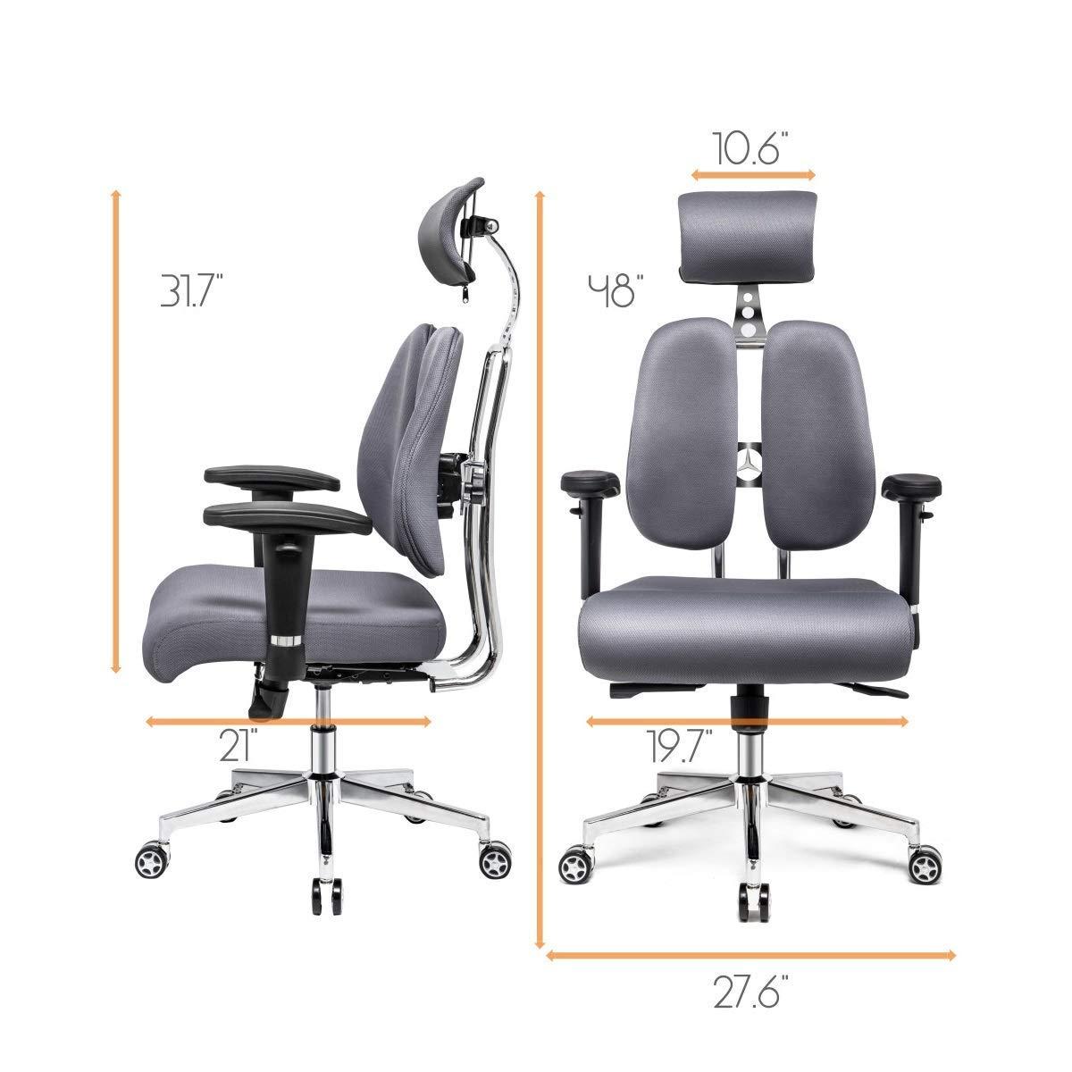 Hourseat Office Desk Chair Gray /… PU Leather Ergonomic Office Chair Lumbar Support Desk Executive Chair Adjustable Headrest Backrest