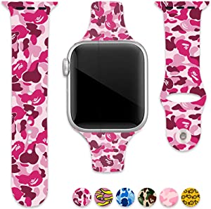 Sport Band Compatible with Apple Watch 42mm 44mm, KGC Soft Silicone BA-PE Fadeless Strap Replacement Bands for iWatch Series 4, Series 3, Series 2, Series 1,Sport Edition Women Men