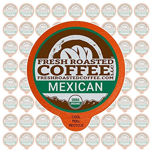 Fresh Roasted Coffee LLC, Organic Mexican Chiapas Coffee Pods, Medium Roast, Single Origin, USDA Organic, Capsules Compatible with 1.0 & 2.0 Single-Serve Brewers, 72 Count (Fresh Roasted Coffee Llc Organic)