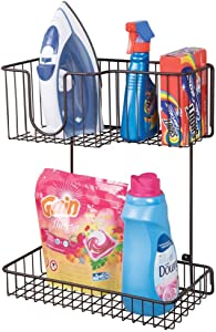 mDesign Metal Wire Wall Mount Laundry Room Storage Organizer, 2 Levels - Large Basket Holds Iron, Lower Shelf Holds Laundry Detergent, Fabric Softener, Stain Remover - Bronze