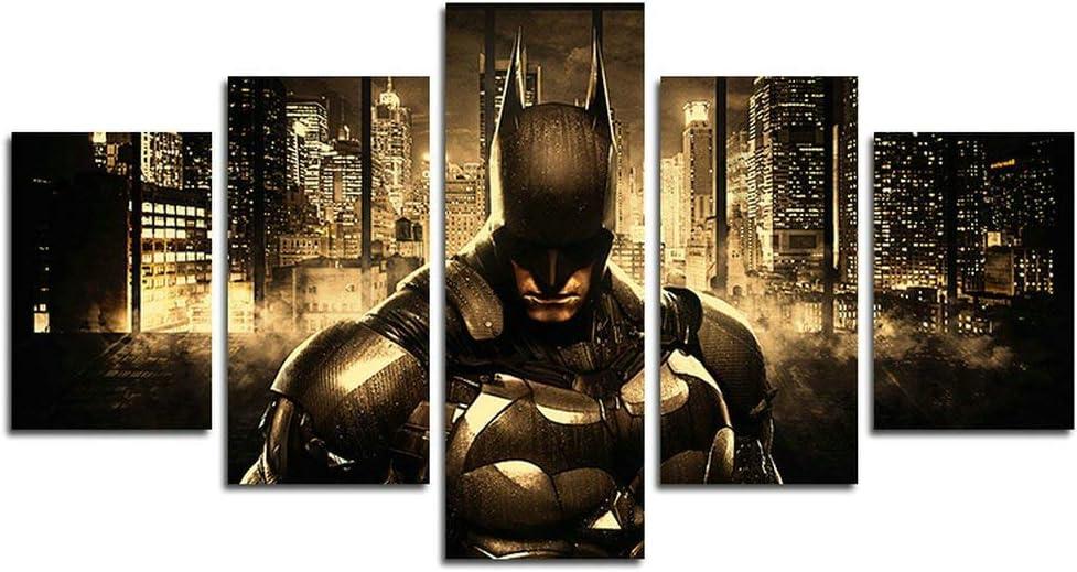 AtfArt 5 Piece Batman DC Superhero Canvas Painting for Living Room Home Decor Canvas Art Wall Poster (No Frame) Unframed Mr-26