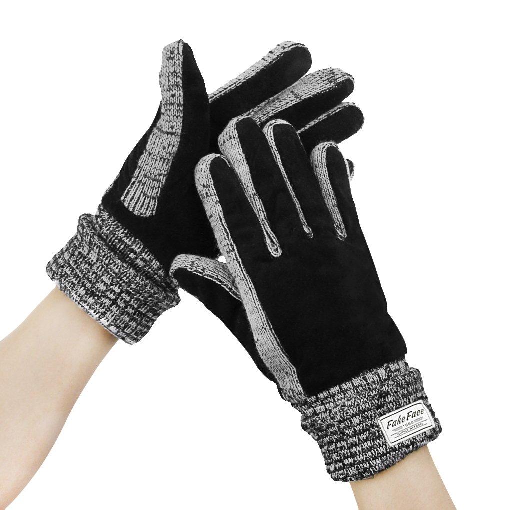 FakeFace(フェイクフェイス)手袋 レディース 5本指 バイク サイクリング スキー グローブ 防寒 保温断熱 2層タイプ