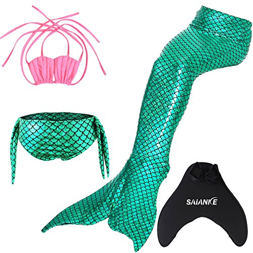 Green coda scintillante Top con sirena nuotare Pink With SAIANKE monopinna per da bagno di ZTdnpv